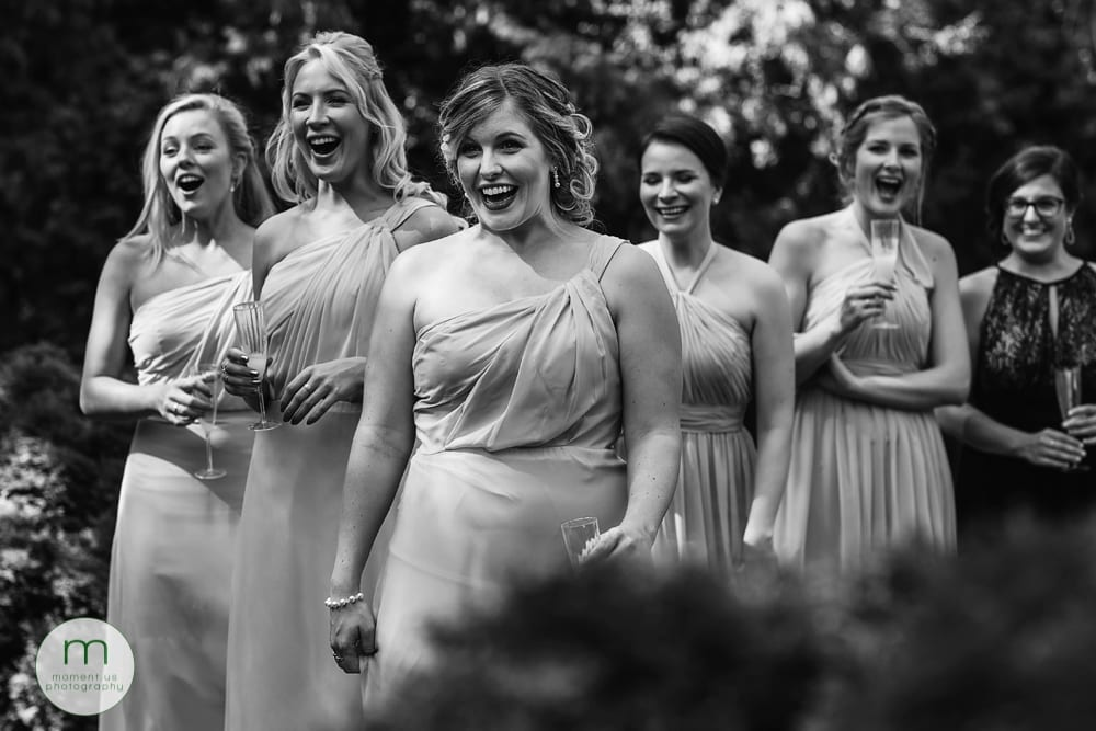 Cornwall Rustic Country Wedding - bridesmaids seeing bride for first time