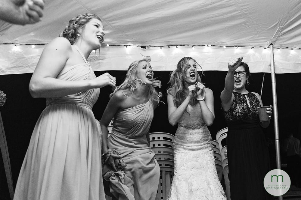 Cornwall Rustic Country Wedding - bride and girls singing