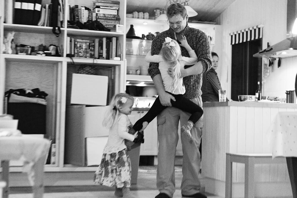 Stockholm family playing with dad