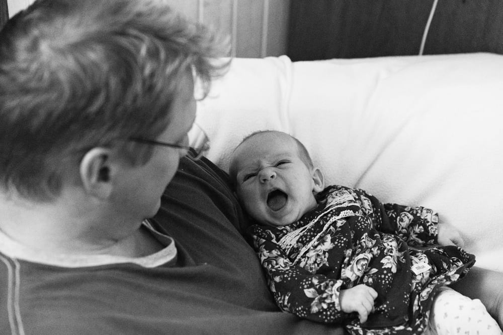 Stockholm baby smiling at dad