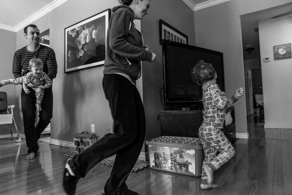 Cornwall family photography - playing chase in the house