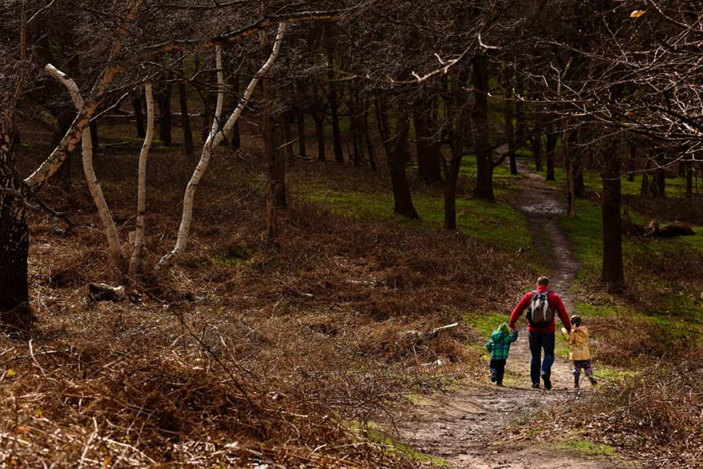 Dad walking with two kids in Richmond Park during London family photography session