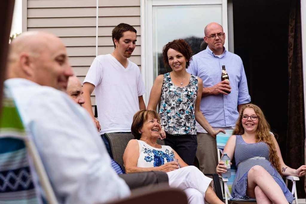 candid family shot on backyard patio