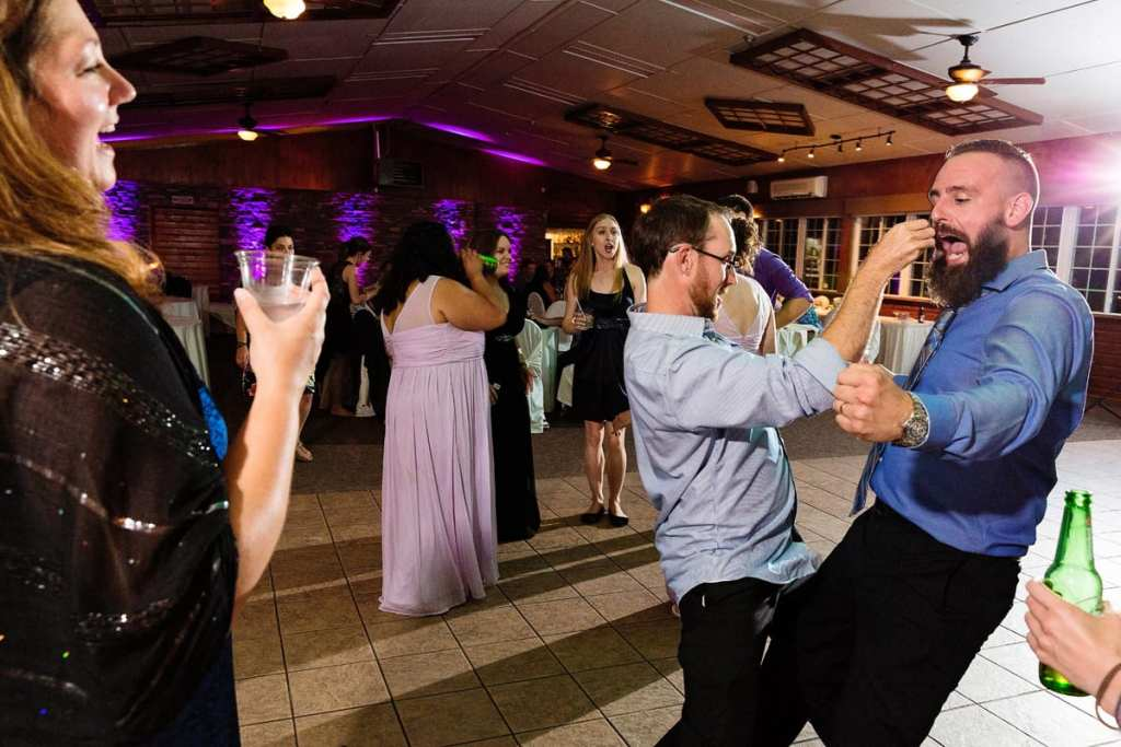 Wedding reception guest on dance floor at Intimate Strathmere Wedding