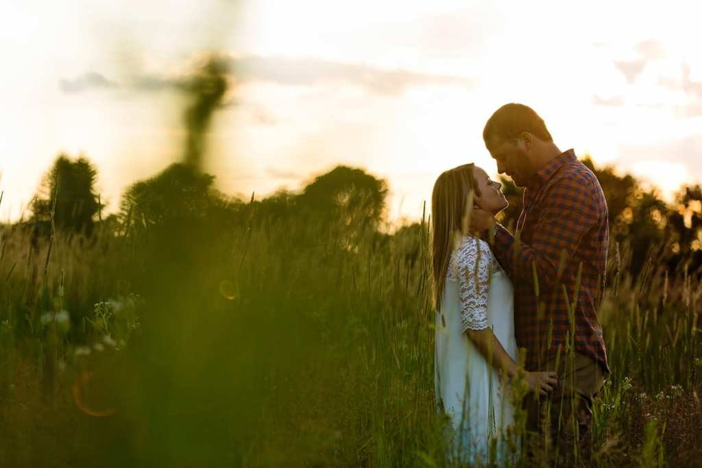 Romantic rural Cornwall sunset engagement session