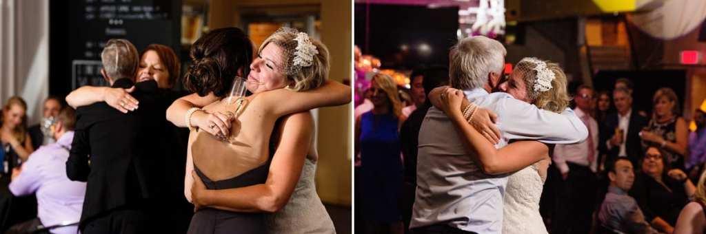 guests congratulating brides at chic cornwall same-sex wedding
