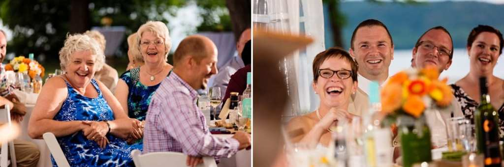 reception guests enjoying speeches at intimate Calabogie lakeside wedding