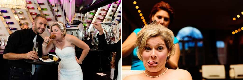 quirky bride hamming for camera with hairstylist