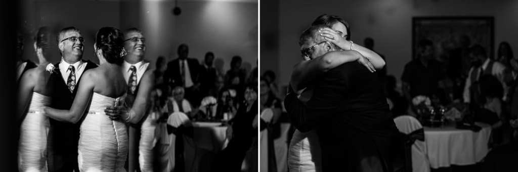 bride dances and hugs father during Cornwall evening wedding