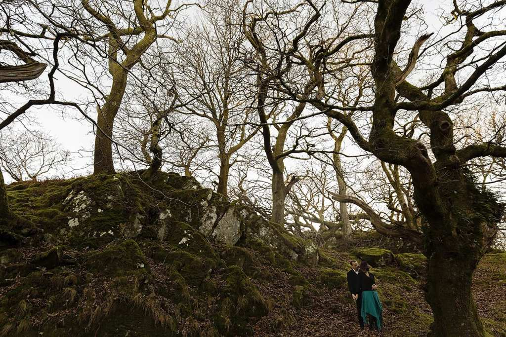 man holds wife while standing under scraggly trees during Snowdonia portrait session