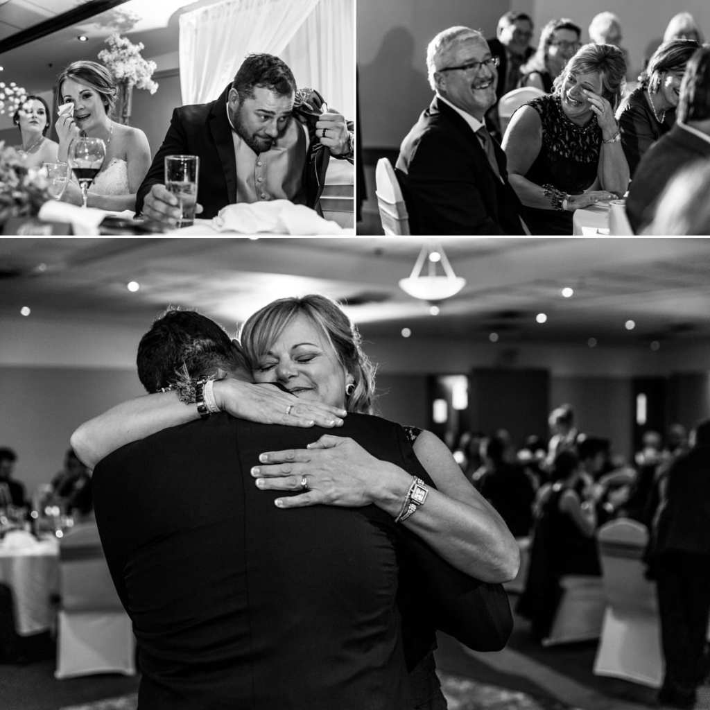 photo collage of groom hiding behind coat lapel, mother crying and mother hugging groom after first dance during Autumnal NAV Centre Cornwall Wedding reception