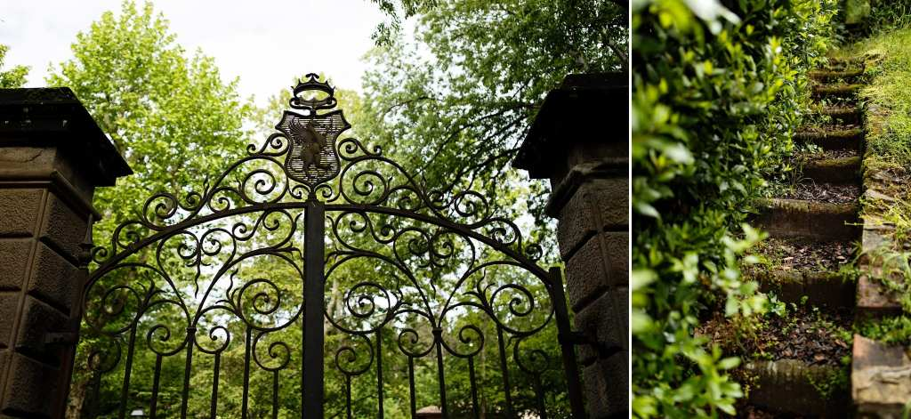 ornate iron gates and ivy at Florentine villa