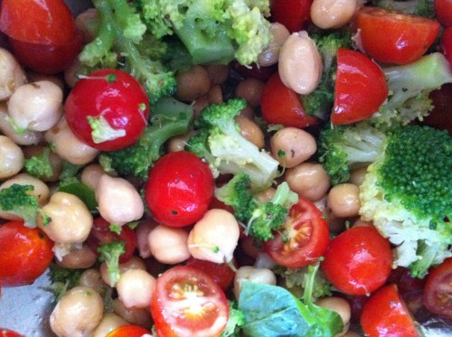chickpeas, grape tomatoes, broccoli, white balsamic vinegar