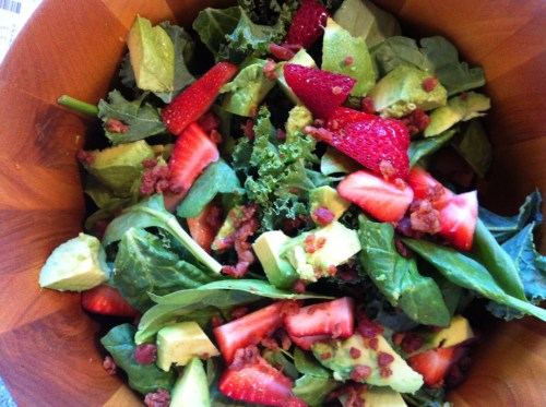 kale, spinach, strawberries, avocado, bacon, strawberry balsamic