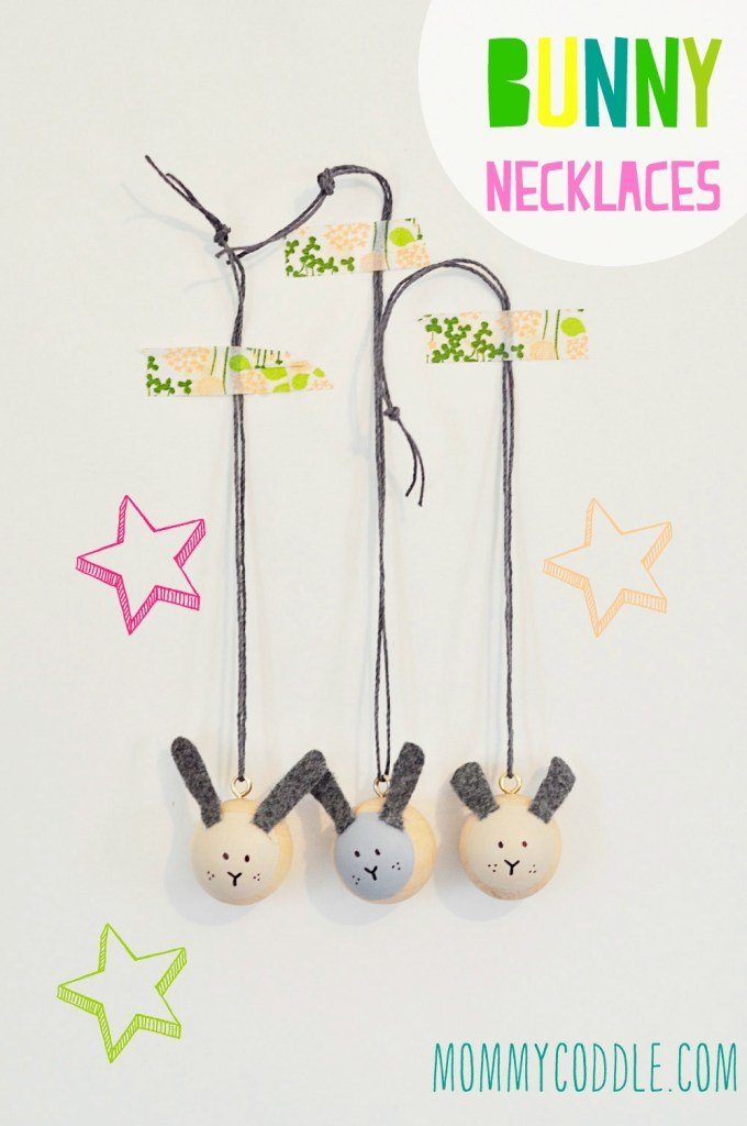 These wooden bead bunny necklaces are adorable. Perfect for spring crafts or Easter!
