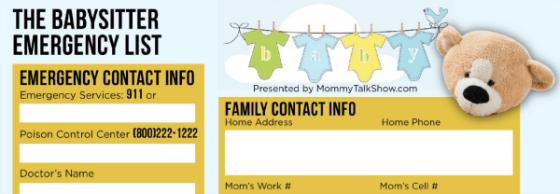 Babysitter Emergency List ~ MommyTalkShow.com