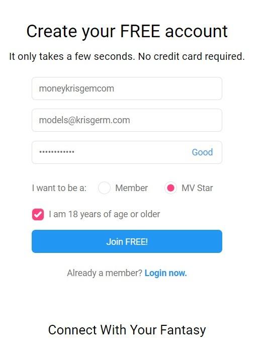 ManyVids регистрация