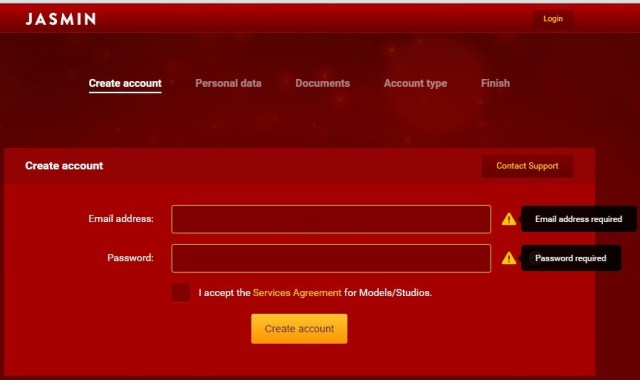 Форма регистрации на LiveJasmin