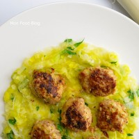 Pork meatballs with leek
