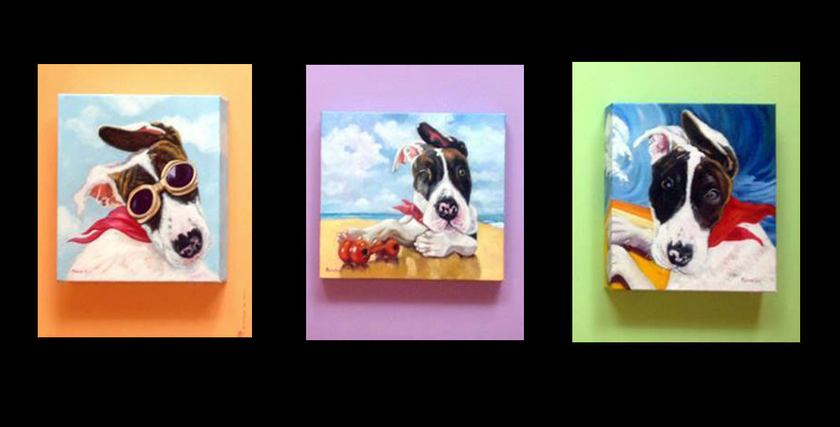 Monika Ruiz Art - Pet Portraits - Super Hero Puck