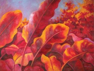 Monika Ruiz Art - Red & Pink Leaves