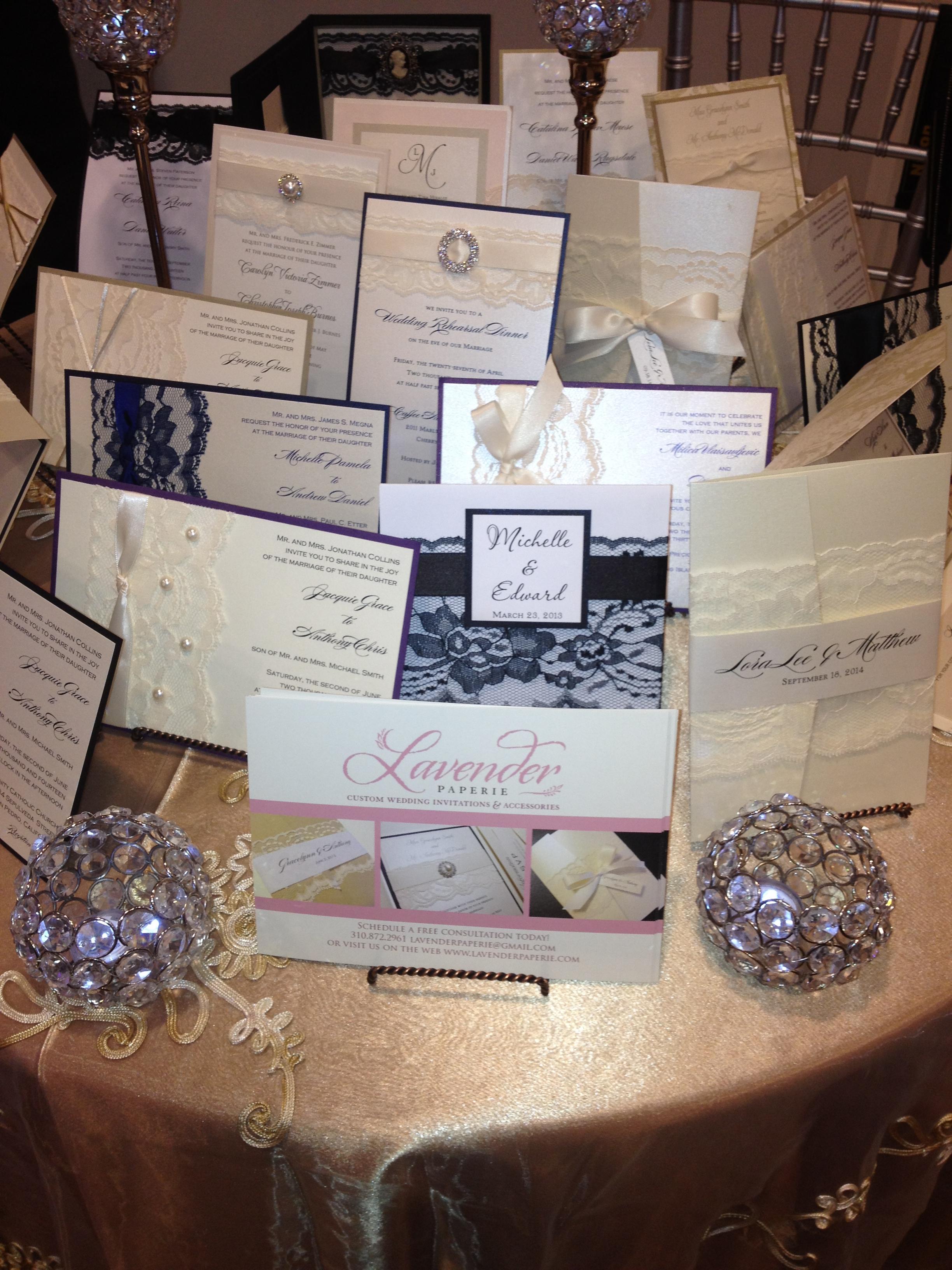 wedding ideas bling wedding invitations Elegant wedding invitations with lace bling and pearls Lavender Paperie