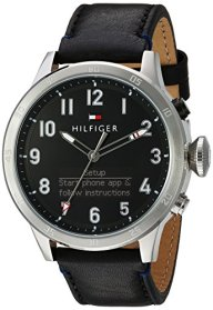 Tommy Hilfiger Men's 'TH 24/7' Quartz Stainless Steel and Leather Smart Watch, Color:Black (Model: 1791299)