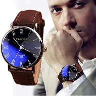 Yoyorule Fashion Luxury Faux Leather Mens Quartz Analog Watch Watches