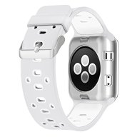 UMTELE 38mm Soft Silicone Replacement Band Sport Strap with Ventilation Holes for Apple Watch Nike+, Series 2, Series 1, Sport, Edition, White/Silver