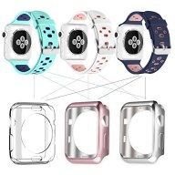 UMTELE Soft Silicone Replacement Band Sport Strap with Ventilation Holes for Apple Watch Nike+, Series 2, Series 1, Sport, Edition, 3 Pack