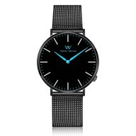Welly Merck Men's Luxury Watch Minimalist Ultra Thin Slim Quartz Movement Sapphire Crystal Analog Wrist Watch with Black Stainless Steel 20mm Width Mesh Interchangeable Strap 5 ATM Water Resistant