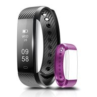 Fitness Tracker, Coffea C2 Activity Wristband : Bluetooth Wireless Smart Bracelet, Waterproof Pedometer Activity Tracker Watch with Replacement Band for IOS & Android Smartphone (Back+ Purple strap)
