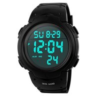 Men's Digital Sports Watch LED Alarm Stopwatch Waterproof Wrist Watch for Sports Military Army – Black