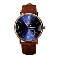 Perman Luxury Mens Fashion PU Leather Glass Quartz Analog Wristwatch Noctilucent Watches Blue