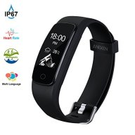 Fitness Tracker HR Aneken Activity Tracker with Heart Rate Monitor IP67 Waterproof Bluetooth Smart Bracelet with Pedometer Sleep Monitor Step Counter Watch for Android iOS Smartphone, Black