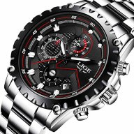 Watch Men Fashion Sport Quartz Clock Mens Watches Top Brand Luxury Full Steel Business Waterproof Watch (black)