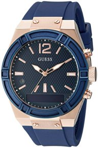 GUESS Women's CONNECT Smartwatch with Amazon Alexa and Silicone Strap Buckle – iOS and Android Compatible –  Blue