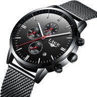Affute Luxury Business Mens Analog Quartz Watches Chronograph Waterproof Stainless Steel Mesh Band,Black