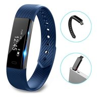 Fitness Tracker, LOLG Smart Waterproof Activity Tracker Health Watch with Pedometer Bluetooth Distance Calories Counter Sleep Monitor Camera Control etc for IOS &Android System,Black/Purple (BLUE)