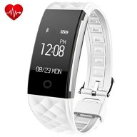Fitness Tracker,Juboury Heart Rate Activity Trakcer Touch Screen Wearable Pedometer Bluetooth Smart Wristand with Sleep Monitor,Steps Counter,Calories Track for Android and IOS Smart Phones(White)