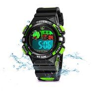 Kids Watches Outdoor Sports Children Watch Stopwatch Quartz Watch Boy Girls LED Wristwatch Green