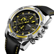 Men's Watch Chronograph Luxury Leather Band Watches Sport Yellow Military Business Quartz Watch