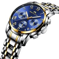 Mens Stainless Steel Chronograph Watches Men Luxury Gold Waterproof Date Luminous Blue Dial Wrist Watch
