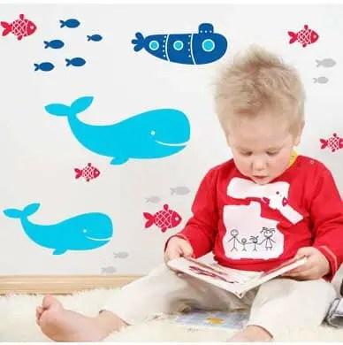Whale Wall Stickers - Kids Bedroom Wall Art - Lovably Me