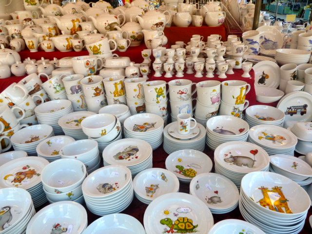 cups and saucers at Auer Dult dish market in Munich, Germany