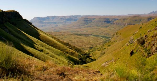 Drakensberg mountains sandstone cliffs, South Africa