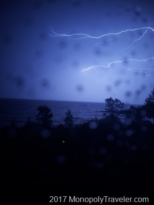 Lightning from an early morning storm over Lake Superior