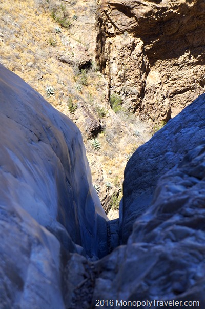 The end of the trail with a steep drop to the desert floor