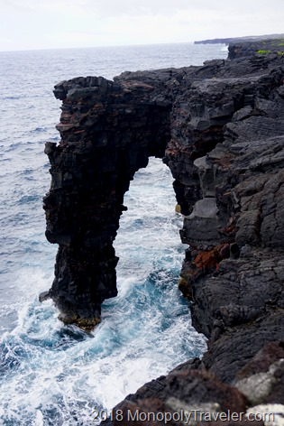 Holei Sea Arch created by the ocean carving out lava rock