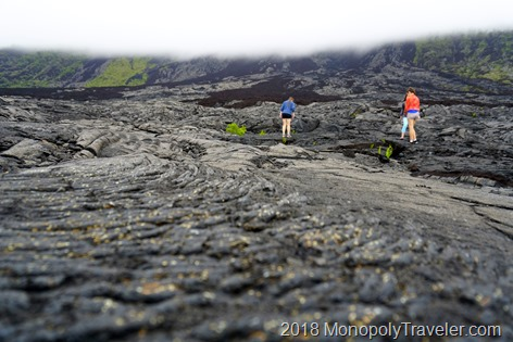Exploring a lava flow just under the clouds